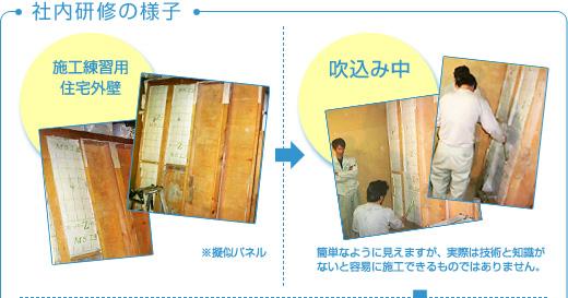 施工練習用住宅外壁、吹き込み中
